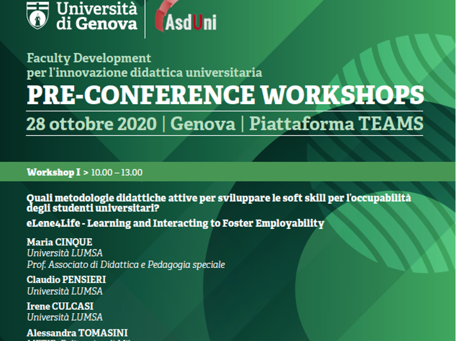 Italian Multiplier event: eLene4Life as a pre-workshop conference of the Italian Association for Faculty Development